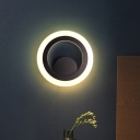 LED Great Room Wall Lighting Ideas Modern Black Wall Sconce with Circular Metal Shade in Warm/White Light