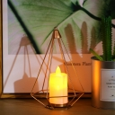 Gold Triangle/Cactus Cage Table Light Kids Iron Battery Powered LED Night Stand Lamp with Pillar Candle Inside