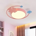 Macaron Rounded Thin Ceiling Lamp Acrylic Girl's Bedroom LED Flush Mount Light in Pink with Clover Decor, Warm/White Light