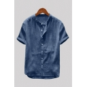 Vintage Mens Shirt Solid Color Button up Short Sleeve Stand Collar Regular Fit Cotton and Linen Shirt