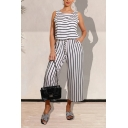 Vintage Womens Jumpsuits Pinstriped Printed Drawstring Waist Round Neck Loose Fitted Sleeveless Jumpsuits