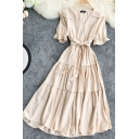 Preppy Girls Solid Color Pleated Tiered Bow Tie Waist Stringy Selvedge Short Sleeve Peter Pan Collar Midi A-line Dress