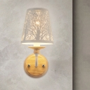 Tapered Metal Wall Light Fixture Macaron 1 Light White Wall Lighting with Tree Pattern