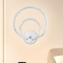 Nordic Circular Wall Mount Lamp Faceted Crystal LED Bedroom Wall Sconce in Chrome, Warm/White Light