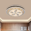 Integrated LED Bedroom Ceiling Light Minimal White Flush Mounted Lamp with Round Crystal Shade