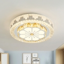 Chrome Drum Flush Mount Light Fixture Minimalist Beveled Crystal LED Ceiling Mounted Lamp for Bedroom