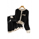 Elegant Womens Contrast Stitch Pearl Button Up Crew Neck Long Sleeve Regular Sweater Cardigan & Fake Pockets High Rise Short A-line Dress