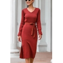 Formal Ladies Solid Color Long Sleeve V-neck Lace Bow Tied Waist Knit Slit Sides Mid Shift Sweater Dress