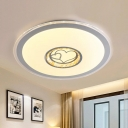 Simple Round Ceiling Lighting Acrylic Great Room LED Flush Mount Light with Loving Heart Pattern in White