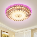 Round Ceiling Light Fixture Minimalist Faceted Crystal LED Parlor Flush Mount Lighting in Gold