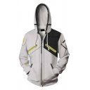 Cool Mens Hoodie Colorblock 3D Cosplay Elbow Patch Pattern Breathable Cuffed Zipper Embellished Slim Fitted Long Sleeve Hoodie