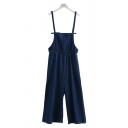 Chic Ladies Overalls Solid Color Stringy Selvedge Pleated Elastic Bow Full Length Denim Overalls