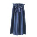 Chic Pants Plain Bow Pleated High Waist Elastic Stitch Paperbag Waist Full Length Wide Leg Denim Pants for Ladies