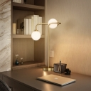 Simplicity Sphere Night Lamp White Glass 2 Lights Study Room Reading Table Lighting in Gold