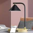 1-Head Study Room Desk Light Contemporary Beige Night Table Lamp with Conical Metallic Shade