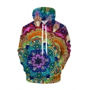Chic Mens 3D Hooded Sweatshirt Painted Animal Dog Rabbit Tomato Lotus Pattern Drawstring Full Sleeve Fitted Hoodie with Pocket
