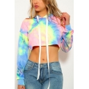 New Stylish Colorful Tie-Dyed Long Sleeves Loose Cropped Hoodie