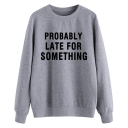 Leisure Long Sleeve Round Neck Letter THAT'S WHAT SHE SAID Cartoon Graphic Loose Fit Pullover Sweatshirt in Gray