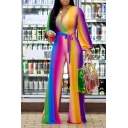 Womens 3D Jumpsuits Chic Ombre Tie-Waist Deep V Neck Long Sleeve Full Length Loose Fitted Wide Leg Jumpsuits