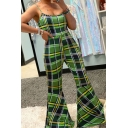 Cool Womens Jumpsuits Plaid Pattern Scoop Neck Long Slim Fitted Sleeveless Flare Jumpsuits