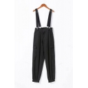 Womens Jumpsuits Fashionable Adjustable Brace Flap Pockets Elastic Cuffs Ankle Length Zipper Fly Loose Fitted Overalls Pants