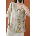 Chic Womens Chinese Style Flower Bird Print Frog Button Placket V Neck Half Sleeve Loose Blouse Top