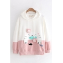 Preppy Girls Cat Fish Embroidered Contrasted Long Sleeve Drawstring Relaxed Fitted Hoodie