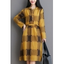 Womens Stylish Linen and Cotton Plaid Printed Long Sleeve Crew Neck Button Up Bow Tied Waist Mid A-line Dress