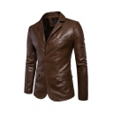Basic Mens Jacket Solid Color Button down Split Back Lapel Collar Long Sleeve Slim Fitted Leather Jacket