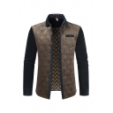 Novelty Mens Jacket Color-Block Diamond Quilted Chest Pocket Turn-down Collar Button-down Slim Fitted Long Sleeve Casual Jacket