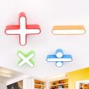 Mathematical Symbol Playroom Flush Mount Metallic LED Modernist Close to Ceiling Lighting in Red/Orange/Blue