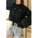 Chic Womens Chinese Letter Embroidered Long Sleeve O-ring Drawstring Relaxed Crop Hoodie in Black
