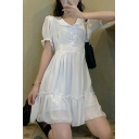 Pretty Womens White Puff Sleeve Peter Pan Collar Button Up Stringy Selvedge Ruffled Short Pleated A-line Dress