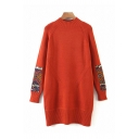Vintage Tribal Printed Patchwork Mock Neck Long Sleeve Fitted Tunic Pullover Sweater-Knit Top for Ladies