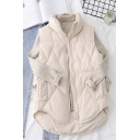 Womens Popular Solid Color Quilted Sleeveless Stand Collar Zip Up Curved Hem Relaxed Vest