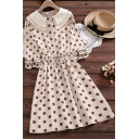 Glamorous Womens Polka Dot Printed Long Sleeve Bi-layered Peter Pan Collar Button Up Drawstring Waist Mid A-line Shirt Dress