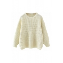 Womens Popular Waffle Knitted Long Sleeve Crew Neck Loose Fit Pullover Sweater in White