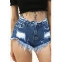 Womens Blue Shorts Fashionable Dark Wash Ripped Frayed Waistband and Hem Zipper Fly Wide Leg Regular Fitted