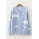 Cloud Printed Long Sleeve Crew Neck Button Up Knit Relaxed Fit Stylish Cardigan in Blue