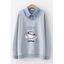 Trendy Letter Start With Cartoon Coffee Graphic False Two Piece Long Sleeve Polo Collar Relaxed Pullover Sweatshirt