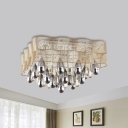 Square Fabric Mesh Flush Light Fixture Modernist 15 Lights Bedroom Flush Mount in Beige with Crystal Accent