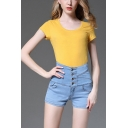 Women's Fancy Shorts Solid Color Top-stitching Short Button Fly High Rise Pocket Slim Fit Denim Shorts with Washing Effect