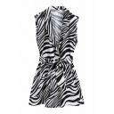 Trendy Womens Rompers Zebra Stripe Animal Pattern Lapel Collar Sleeveless Button Detail Tie Wide-leg Rompers