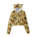 All-over Dog Print Long Sleeve Drawstring Regular Fit Unique Crop Hoodie