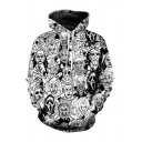 Creepy All-over Comic Figure 3D Pattern Long Sleeve Drawstring Pouch Pocket Relaxed Hoodie in White