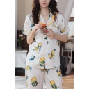 Leisure Womens Fruit Printed Button Through Chest Pocket Stringy Selvedge Lapel Collar Short Sleeve Loose  Shirt & Full Length Pants Pajama Set in White