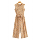 Womens Jumpsuits Stylish Paisley Pattern Zipper Back Bow-Knot Waist Round Neck Loose Fitted Short Sleeve Wide Leg Jumpsuits
