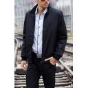 Cool Mens Jacket Plaid-Lined Zipper up Long Sleeve Turn-down Collar Regular Fit Varsity Jacket