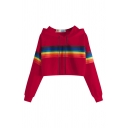 Popular Womens Rainbow Striped Printed Drawstring Full Sleeve Loose Fit Cropped Hooded Sweatshirt