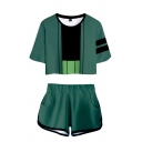 Fashionable Ladies Cosplay Costume Anime Printed Color Block Short Sleeve Round Neck Loose Fit Crop T-Shirt & Elastic Waist Shorts Set